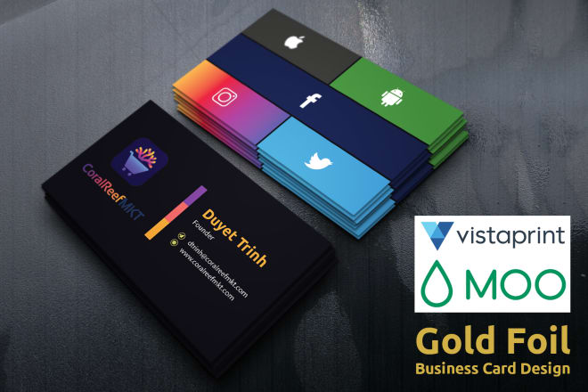 I will do vista print, moo print and gold foil business card design