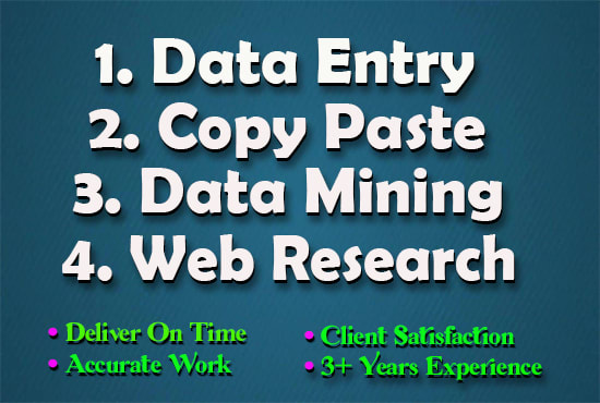 I will do data entry, data mining, internet research and copy paste