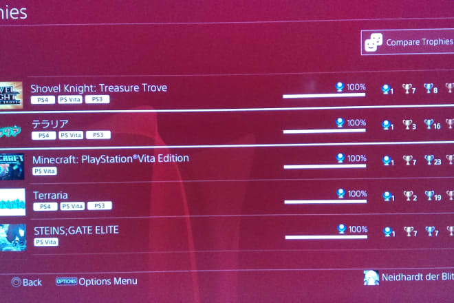 I will collect playstation vita platinum trophies