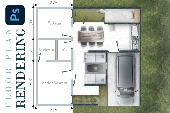 Architectural Plan Rendering In Photoshop Oferta