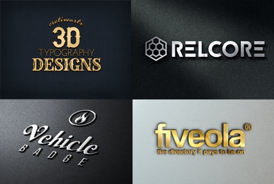 I will create metal gold silver and chrome logo mockup 15 styles