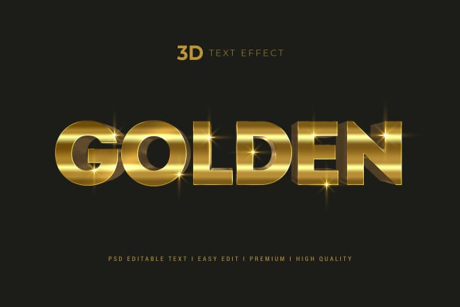 I will realistic gold 3d text effect mockup and logo mockup
